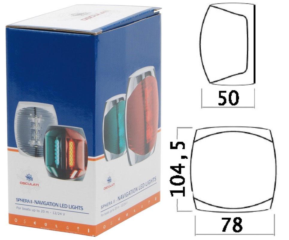 Sphera-II-LED-112-5-red-left-navigation-light-Black-ABS-body-12-24V-2W-OS11060 thumbnail 2