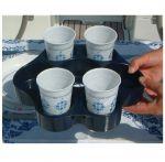 Ocean Vassoio Portabicchieri + Portabottiglie Blu Navy 270x230x50mm #LZ473084