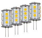 Kit da 4 Lampadine LED 3W 10-15V 3000K Bianca Calda G4 18SMD-5050 #ET27502274X4