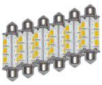 Kit da 6 Lampadine LED 3W 10-15V 3000K Bianca Calda Siluro 12SMD-5050 #ET27550352X6