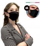 Mascherina Filtrante Nera per Adulti EMFA5 Riutilizzabile Lavabile 5PZ #N90056004590