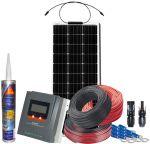 Kit Fotovoltaico Pannello Flessibile 12V 100W Regolatore MPPT 20A e Accessori #N54130200219