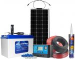 Kit Fotovoltaico Pannello Flessibile 12V 100W Batteria AGM 100Ah 12V e Accessori #N54130200225