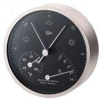 Barigo Pentable Baro/Termo/Igrometro in ottone satinato Ø100/104mm Quadrante nero #OS2808602