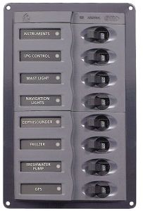 BEP Marine 901V 12V DC Switch panel 8 gangs D.239x127x65mm #UF63126E