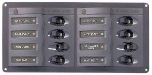 BEP Marine 901H 12V DC Switch panel 8 gangs D.127x200x65mm #UF63127G