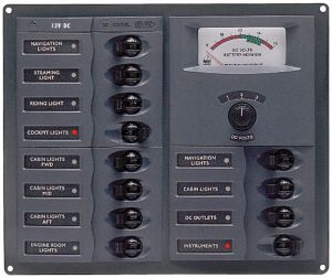 BEP 902A Switch Panel - 12 Magneto-thermal Switches, with Metre - 200x239x65mm #UF63128J