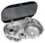 DOMETIC SMEV stainless steel hob 2 burners Right Sink 680x440x152mm #OS5080340