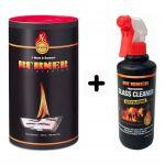 KIT Burner Firestarter BIO OIL Fire Lighter 100 Sachets + 500ml Glass Cleaner #N400092300311