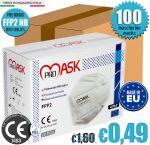 Mascherina FFP2 PM2 NR CE1463 EN149:2001+A1:2009 PROMASK Made in EU 100Pz #N90056004405-100