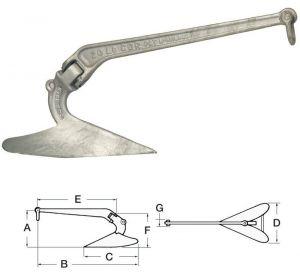 LEWMAR C.Q.R. Hot Pressed Galvanised Steel Anchor 21kg #OS0114520