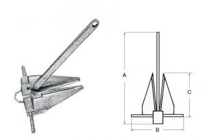 DANFORTH Hot-galvanized cast iron anchor 9kg #OS0113109