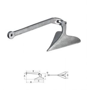 Plough Anchor in  Hot Galvanized Steel 22Kg #OS0114422