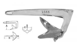 Ancora Trefoil in Acciaio Inox AISI 316 lucidato a specchio 2,5kg #OS0110925