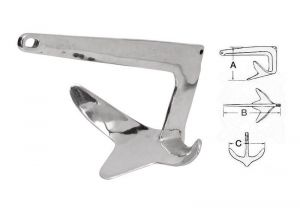 Trefoil Anchor in mirror polished AISI 316 stainless steel 30kg #OS0110930
