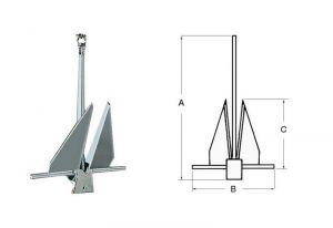 DANFORTH Anchor in Hot-galvanized Steel 20 Kg #N10701710026