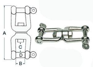 Stainless steel shackle-shackle swivel - Pin 6 mm #N10701800490