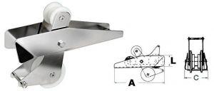 Musone a Ribalta in Inox per Ancore max 14kg 320x90x70mm Puleggia nylon #OS0141900