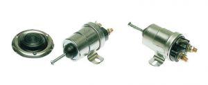 Teleruttore standard completo di pedale in gomma e ghiera inox 12V Pulsante Nero #N11302001111