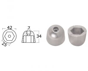 Spare Zinc Anode For SIDE-POWER (Sleipner) Bow - Stern Propellers 101180 #OS4307024