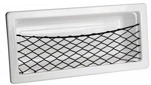 Tasca laterale porta-oggetti in ABS bianco 540x244mm con retina e bordo copriviti #OS2002560