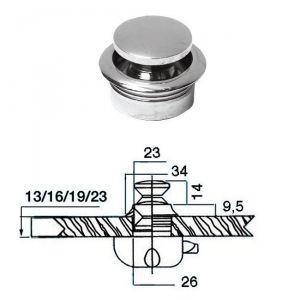 Pomello in ottone cromato per portelli fino a Ø16mm #OS3818102