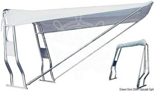 Tendalino Telescopico per Roll-Bar Tubo in Inox Bianco 120x145x190cm #OS4690601