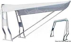 Telescopic Awning for Stainless steel Roll-Bar Tube 130x190x145cm White for Stern #OS4690624