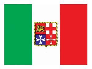 Adesivo Bandiera Italia 15x22cm con stemma marina mercantile #N30112603782