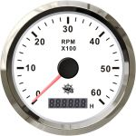 Osculati 12/24V Universal Electronic Revolution Counter with Hour Meter 0-6000RPM White dial #OS2732703