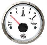 Osculati Oil Pressure Gauge Scale 0-5bar 12/24V White Dial Glossy bezel #OS2732210