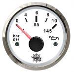 Osculati Oil Pressure Gauge Scale 0-10bar 12/24V White Dial Glossy bezel #OS2732211