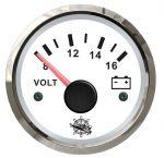 Osculati 12V Voltmeter Scale 8/16V White Dial Glossy Bezel #OS2732214