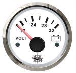 Osculati 24V Voltmeter Scale 18/32V White Dial Glossy Bezel #OS2732215