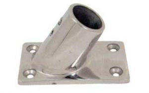 Base rettangolare a 60° in acciaio inox - Tubo D.25 mm #N60840528037