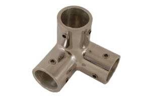 Angolo a 3 vie in acciaio inox per tubo D.22 mm #MT0634522