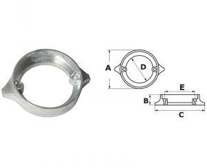 VOLVO Penta Duo Prop 290 Collar Zinc Anode ∅ 91 mm 875821 #N80607230715