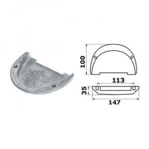 Anodo di Zinco a Piastra per Piede 3855411-2 VOLVO Duo Prop - Cobra OMC #N80607230723