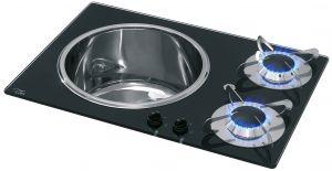 Chrystal PV1360 Stove with Sink 600x420mm Left Sink 2 Burner #MT1506622