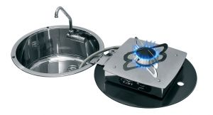 1701/00 Folding Stove with Sink - Cutout 300mm - 1 Burner - D.180mm #MT1506631