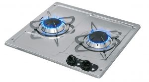 Polished Stainless Steel Burny 2 Flush-in Gas Stove 2 Burners 380x360mm #MT1504550