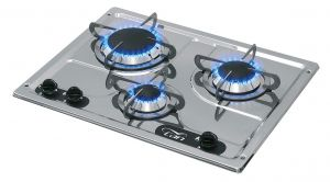 Polished Stainless Steel Burny 3 Flush-in Gas Stove 3 Burners 470x360mm #MT1504553