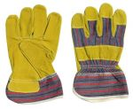 Leather work gloves with Canvas back Size 10 #47617567