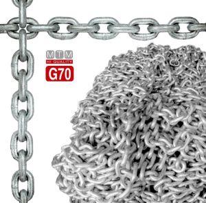 High resistance G70 Galvanized Steel Calibrated Chain Ø10mm 50mt 28x14mm 120kg #MT011071050
