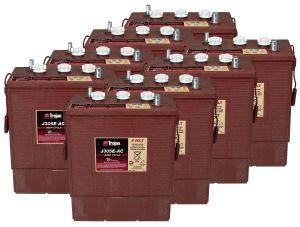 Kit 8pcs Trojan J305G-AC Deep Cycle Flooded Battery 6V 315Ah 48V 15,1kWh #20050785-8