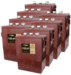 Kit 8pcs Trojan L 16G-AC Deep Cycle Flooded Battery 6V 390Ah 48V 18,7kWh #20050795-8