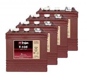Kit 4pcs Trojan T-105 Plus Deep Cycle Flooded Batteries 6V 225Ah 24V 5,4kWh #20050800-4