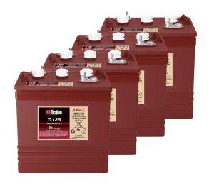 Kit 4pcs Trojan T-125 Plus Deep Cycle Flooded Battery 6V 240Ah 24V 5,8kWh #20050805-4