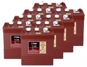 Kit 8pcs Trojan T-125 Plus Deep Cycle Flooded Battery 6V 240Ah 48V 11,5kWh #20050805-8