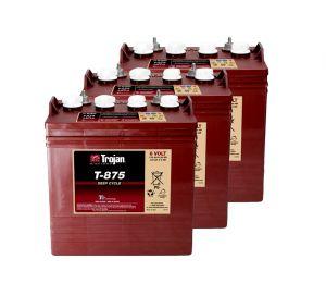 Kit 3pz Trojan T-875 Batteria Acido Libero Deep Cycle 8V 170Ah 24V 4kWh #20050825-3